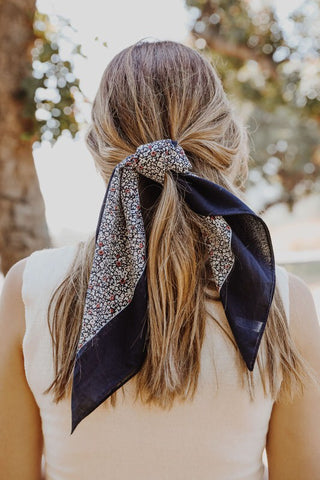 Floral Neckerchief Hair Tie