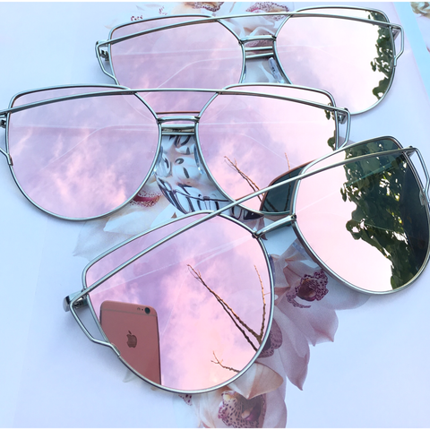 Rose Gold On Silver Mirrored Sunglasses - Kara and Kate