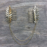 Hair Chain, Boho Head Crown, Chain And Leaves Hair Comb, Boho Headpiece, Hair Halo, Boho Hair, Boho Wedding - Kara and Kate