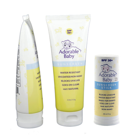 2 Pack Adorable Baby Sunscreen Lotion with Adorable Baby Sunscreen Stick