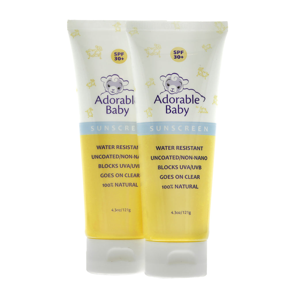 2 Pack of Adorable Baby SPF 30+ Sunscreen Non-Nano Zinc Oxide 4.3 oz
