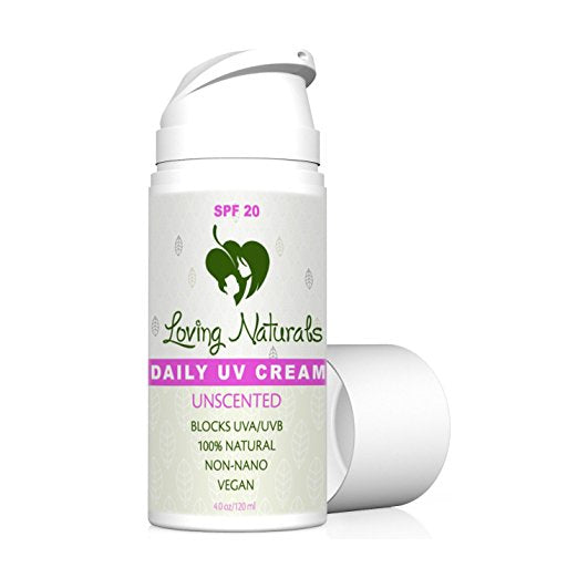 Daily UV Cream Unscented SPF 20 Sunscreen Non-Nano Zinc Oxide UVA/UVB 4 oz