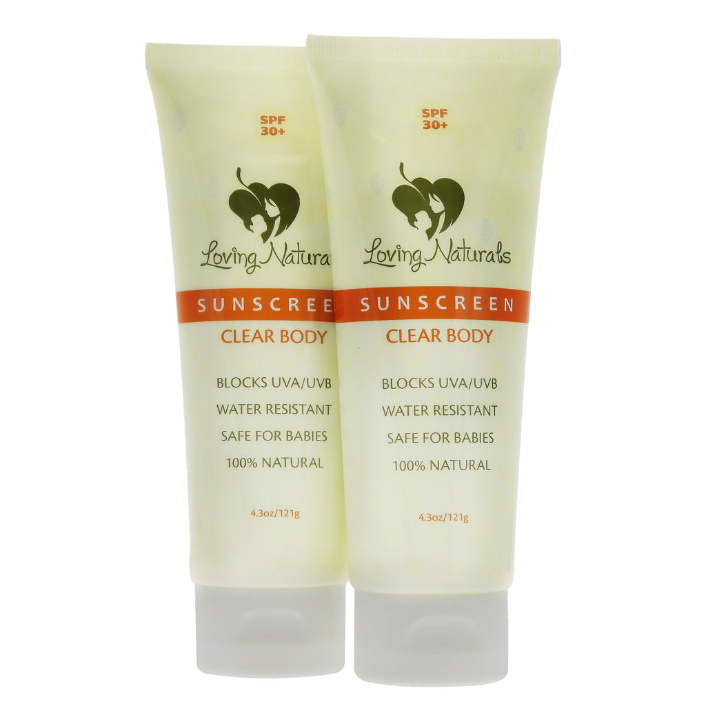 2 Pk Clear Body SPF 30+ Sunscreen Non-Nano Zinc Oxide UVA/UVB 4.3 oz.