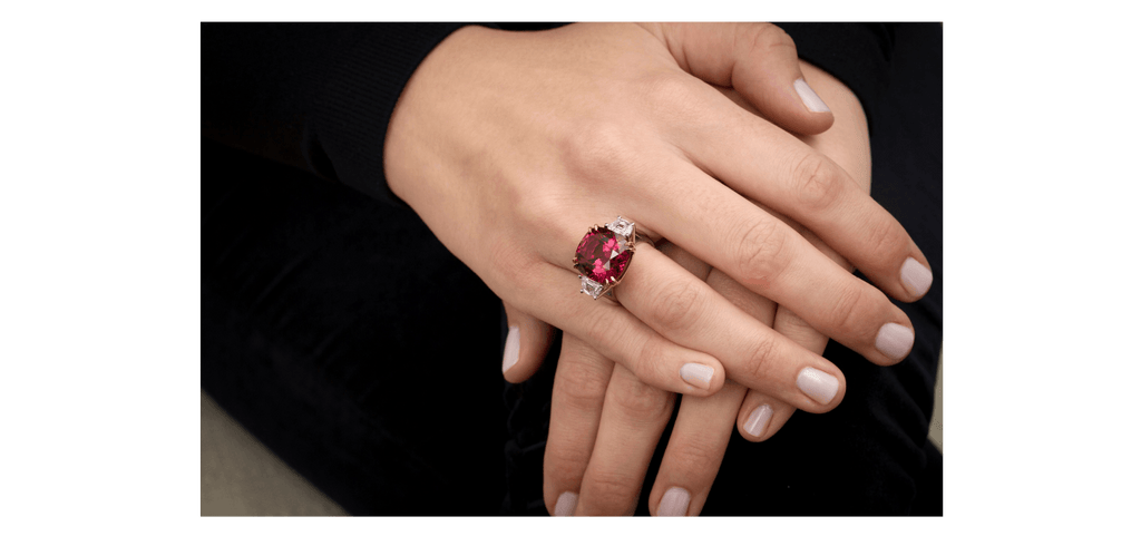 18.37 Carat Cushion Red Spinel and Diamond Ring - David Gross Group
