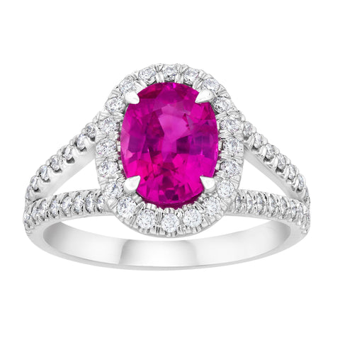 2.37 Carat Oval Padparadscha Sapphire and Diamond Ring