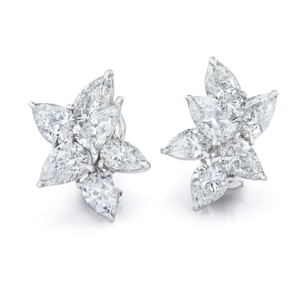 Magnificent Cluster Pear Shape Diamond Earrings - David Gross Group