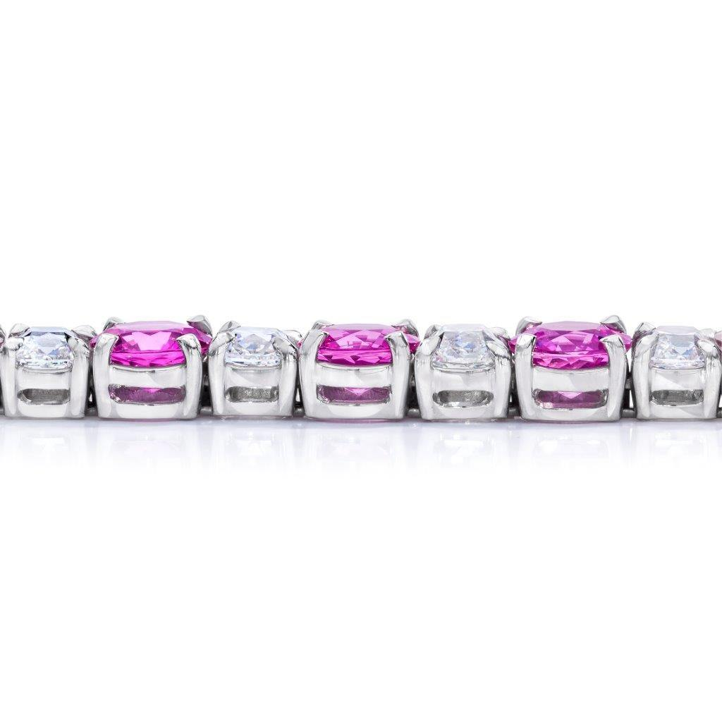 Pink Sapphire and Diamond Platinum Bracelet - David Gross Group