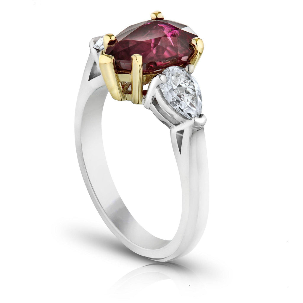 3.08 Carat Pear Shape Ruby and Diamond Ring - David Gross Group