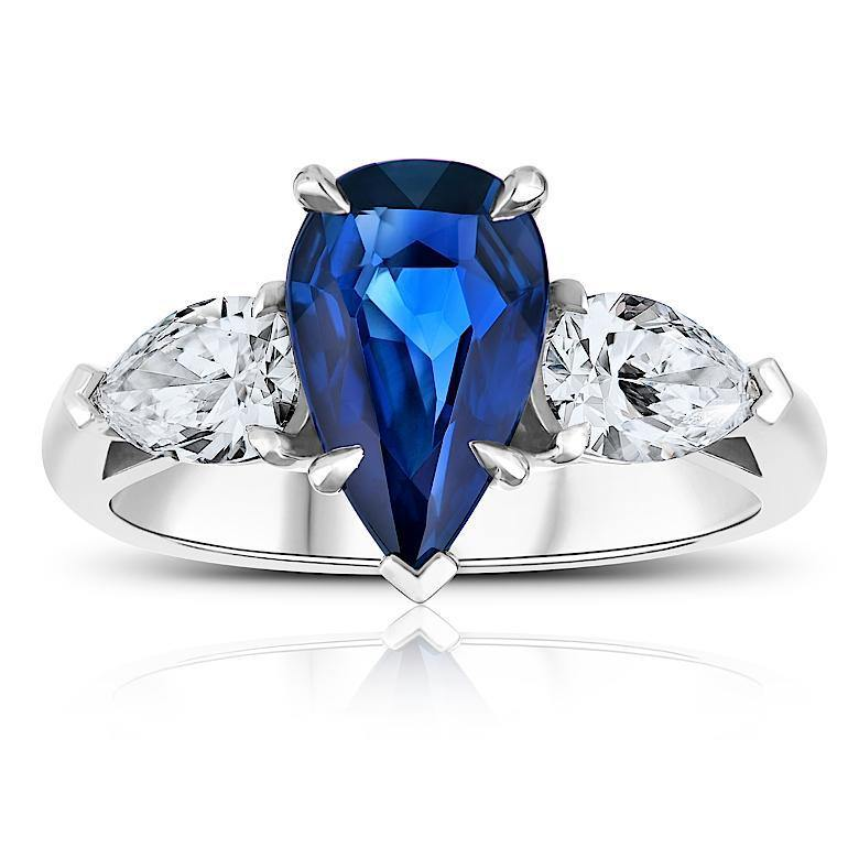 1.61 Carat Pear Shape Blue Sapphire And Diamond Ring - David Gross Group