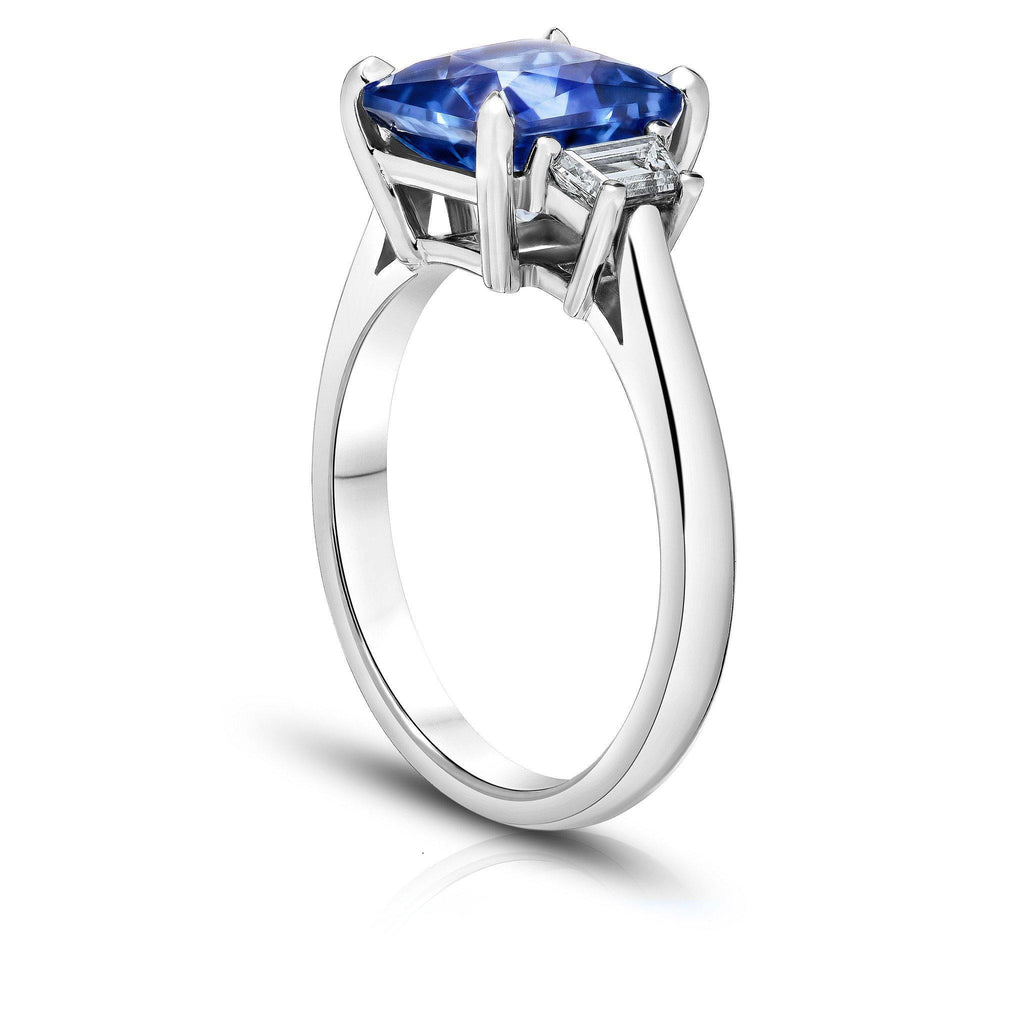 3.90 Carat Radiant Cut Blue Sapphire Ring - David Gross Group