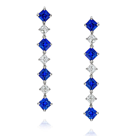 Padparacha Sapphire and Diamond Earrings