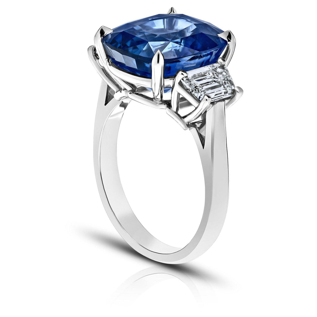 11.23 Carat Cushion Blue Sapphire Ring - David Gross Group