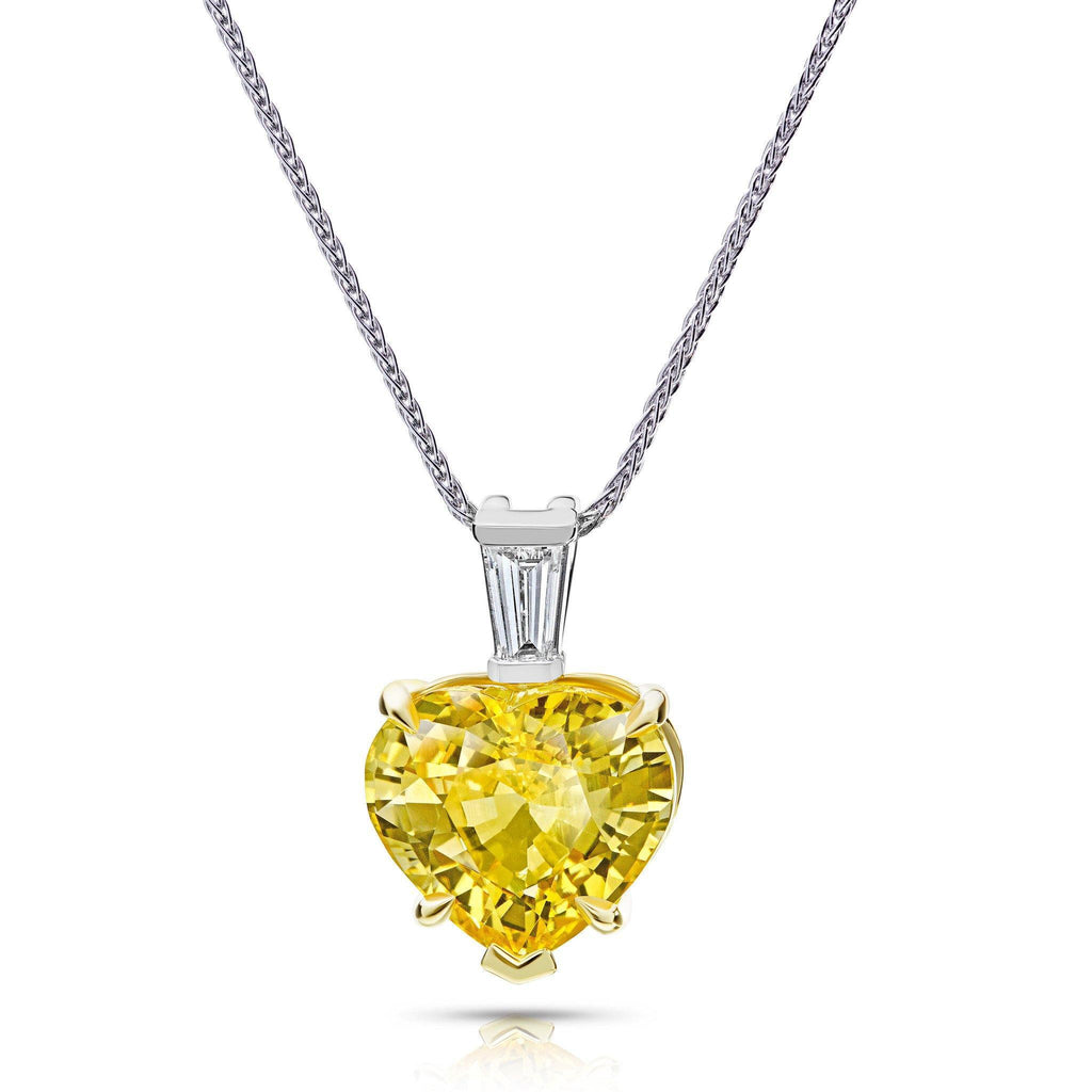 6.57 Carat Yellow Heart Shape Sapphire Pendant - David Gross Group
