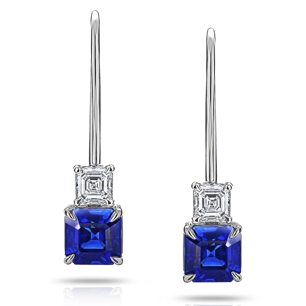 1.78 Carat Blue Asscher Cut Sapphire and Diamond Earrings - David Gross Group