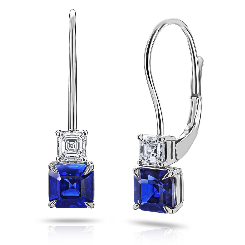 1.31 Carat Blue Asscher Cut Sapphire and Diamond Earrings - David Gross Group