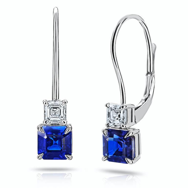 2.12 Carat Blue Ascher Cut Sapphire and Diamond Earrings - David Gross Group