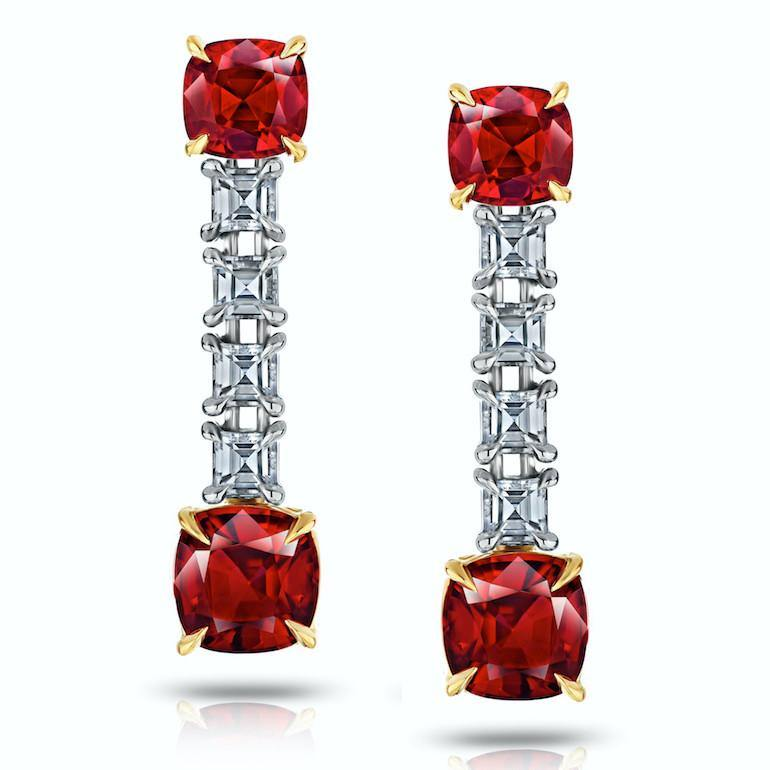2.01 Carat Ruby and Diamond Drop Earrings - David Gross Group