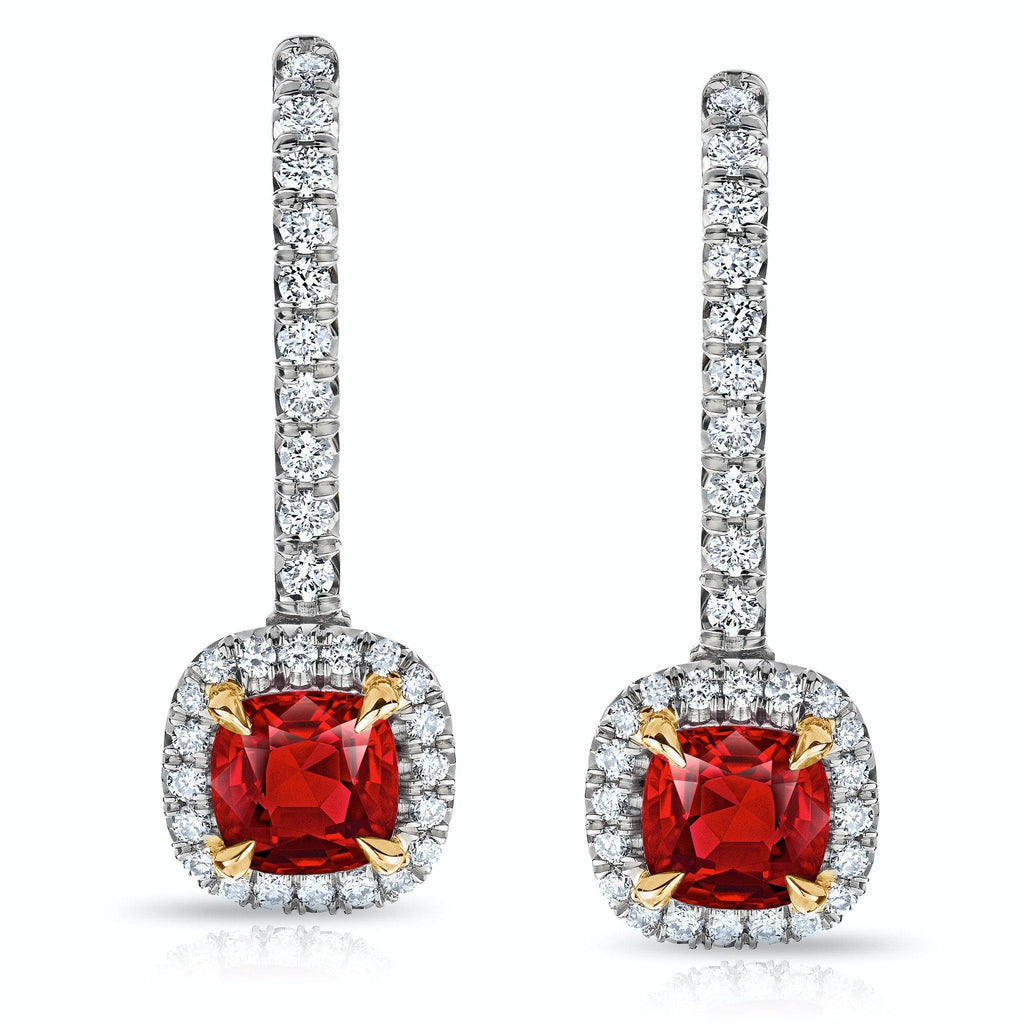 1.04 Carat Ruby and Diamond Halo Drop Earrings - David Gross Group