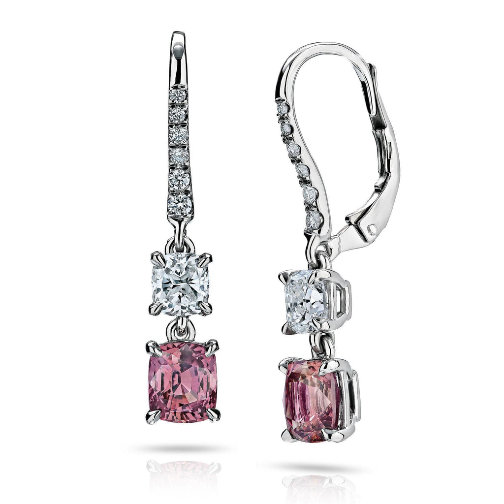 Padparacha Sapphire and Diamond Earrings - David Gross Group
