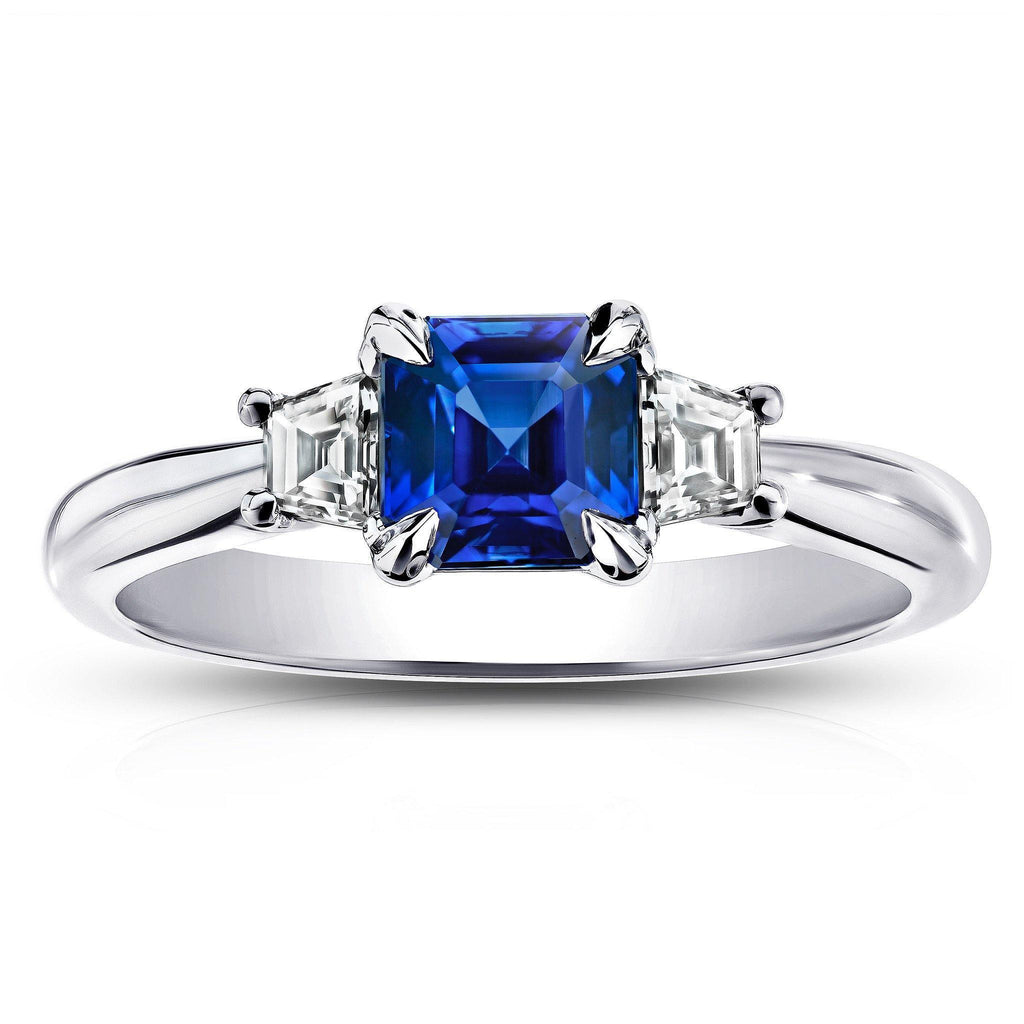 1.31 CARAT SQUARE EMERALD CUT BLUE SAPPHIRE AND TRAPAZOID DIAMOND RING - David Gross Group