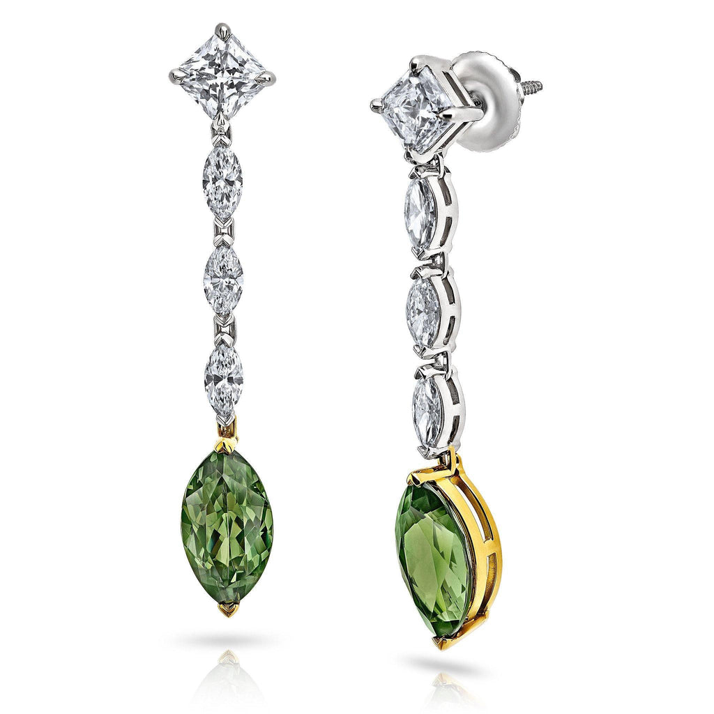 Demantoid Garnet and Diamond Drop Earrings - David Gross Group