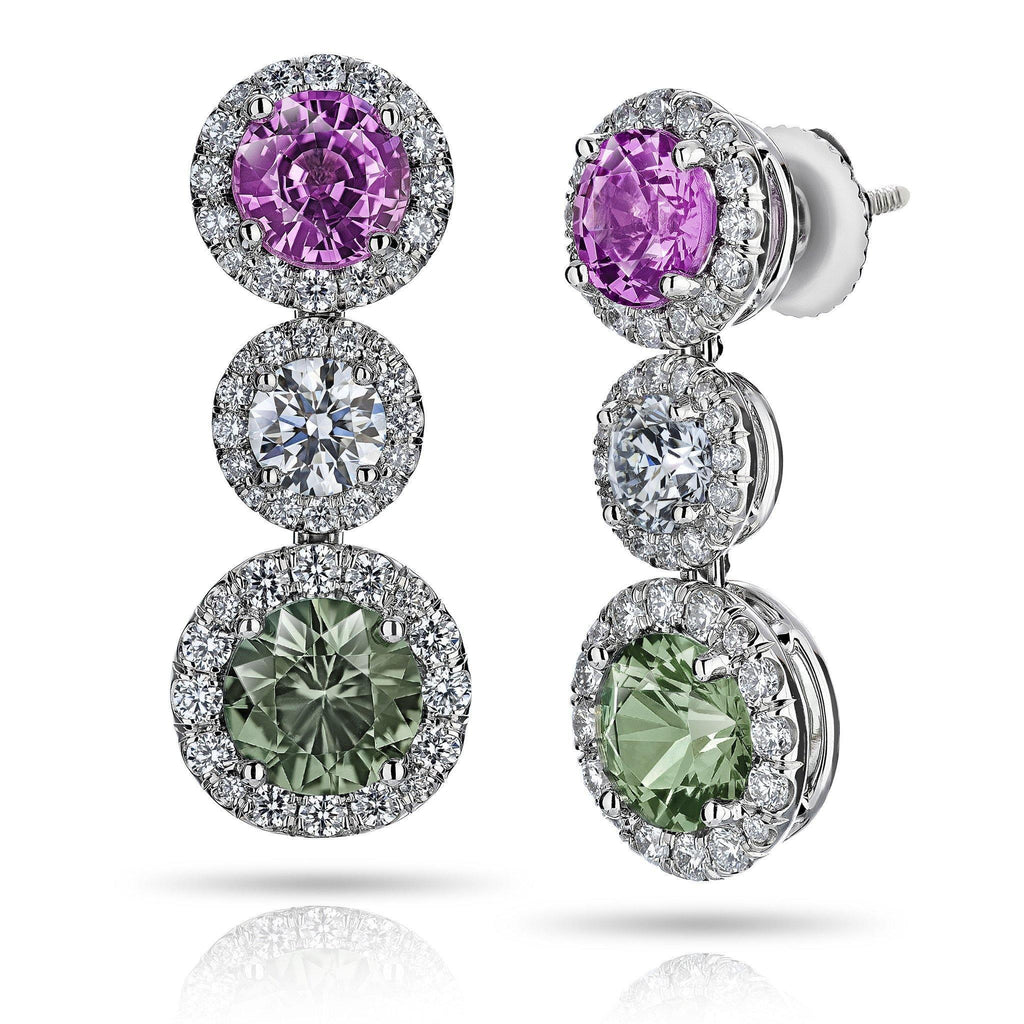 Green and Pink Sapphire Diamond Drop Earrings - David Gross Group