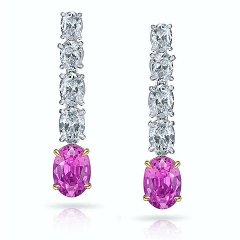 1.46 Carat Ascher Cut Sapphire and Diamond Earrings