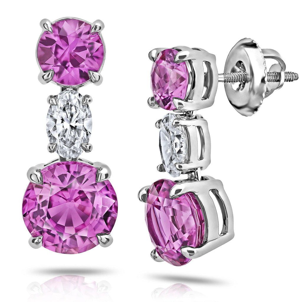 4.68 Carat Pink Round Sapphire and Diamond Earrings - David Gross Group