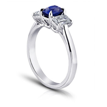 1.15 Carat Cushion Natural Blue Sapphire Ring - David Gross Group