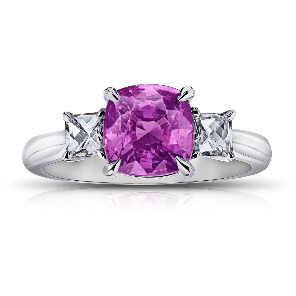 3.08 Carat Pink Cushion Sapphire Ring - David Gross Group
