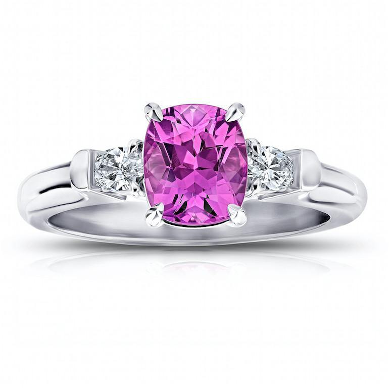 1.78 Carat Cushion Pink Sapphire Ring - David Gross Group