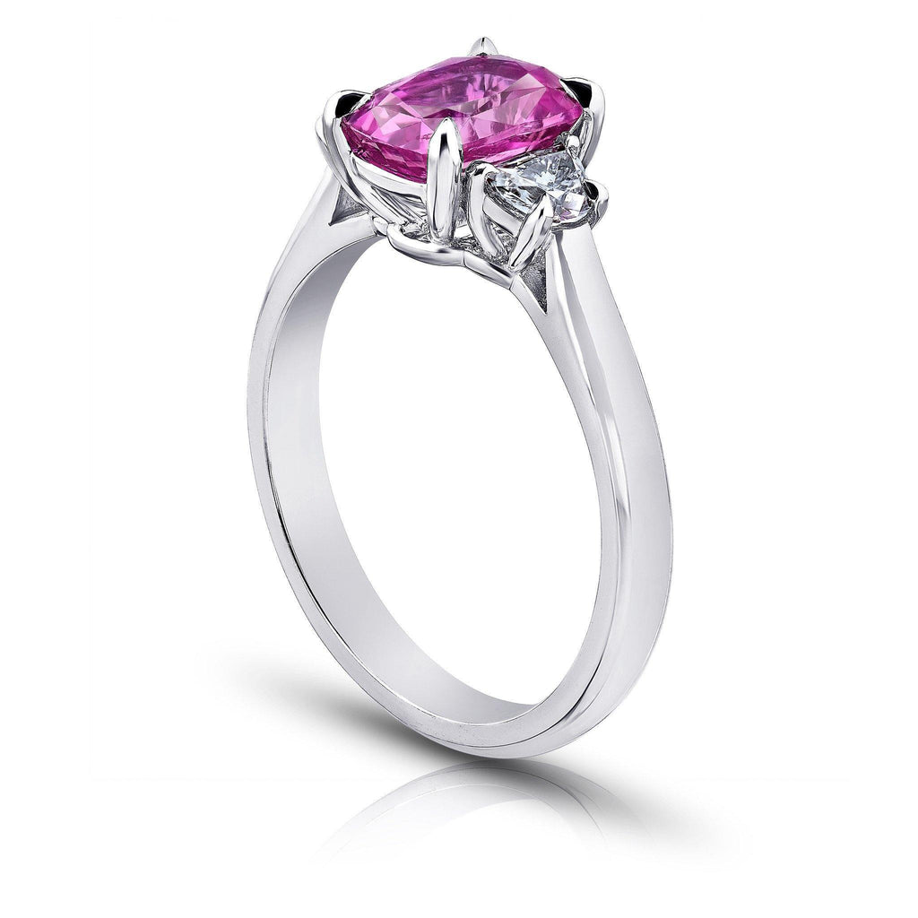 2.22 Carat Cushion Pink Sapphire and Diamond Ring - David Gross Group