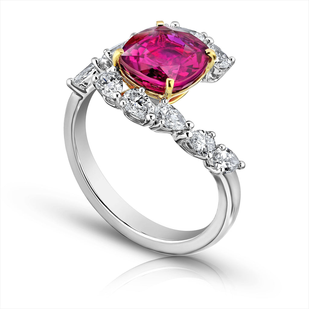 3.36 Carat Cushion Red Ruby and Diamond Ring - David Gross Group