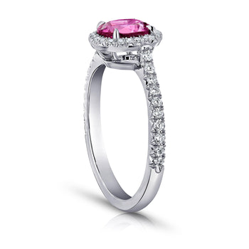 1.48 Carat Oval Pink Sapphire And Diamond Ring - David Gross Group
