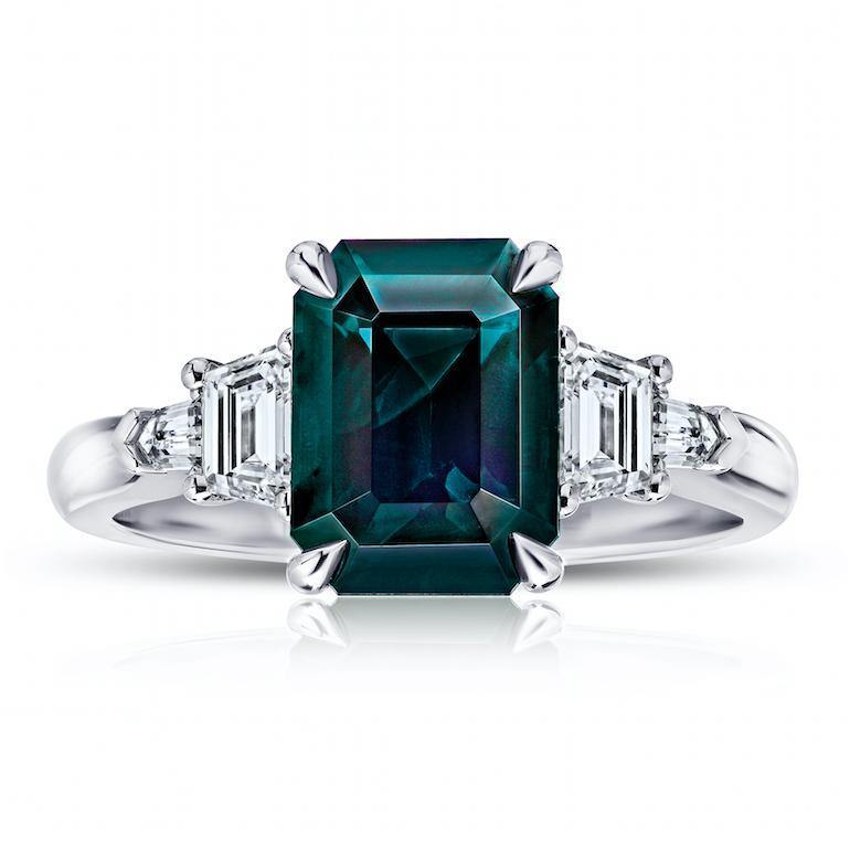 3.82 Carat Emerald Cut Green Sapphire And Diamond Ring - David Gross Group