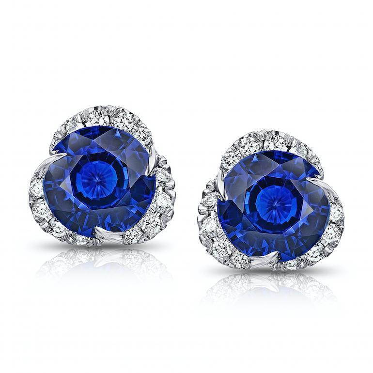 3.46 Carat Round Blue Sapphire and Diamond Halo Platinum Earrings - David Gross Group