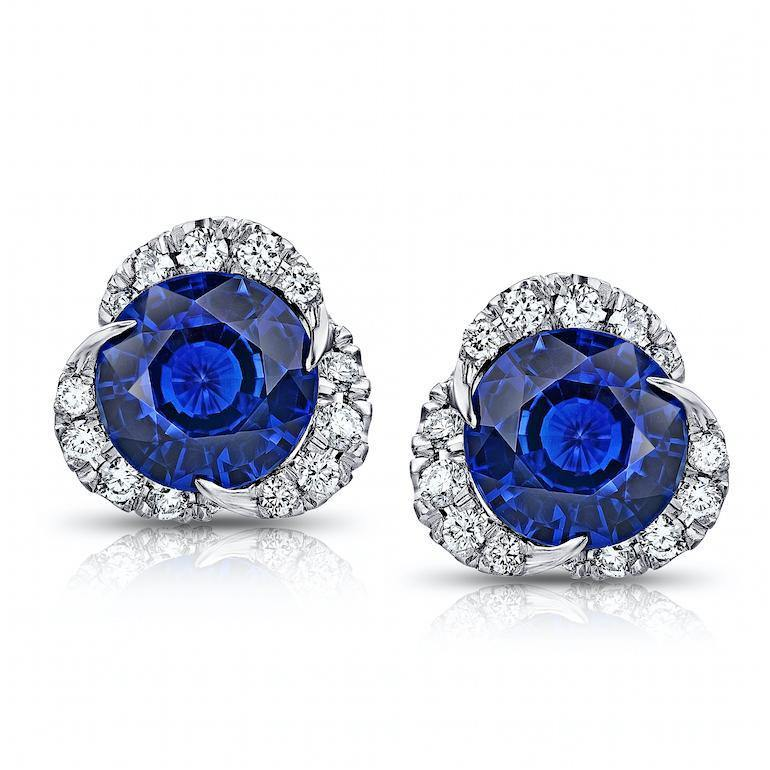 2.10 Carat Round Blue Sapphire and Diamond Halo Platinum  Earrings - David Gross Group
