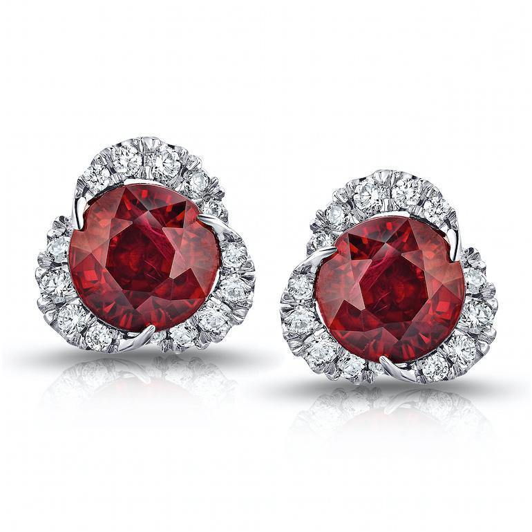 2.92 Carat Round Ruby and Diamond Halo Platinum Earrings - David Gross Group