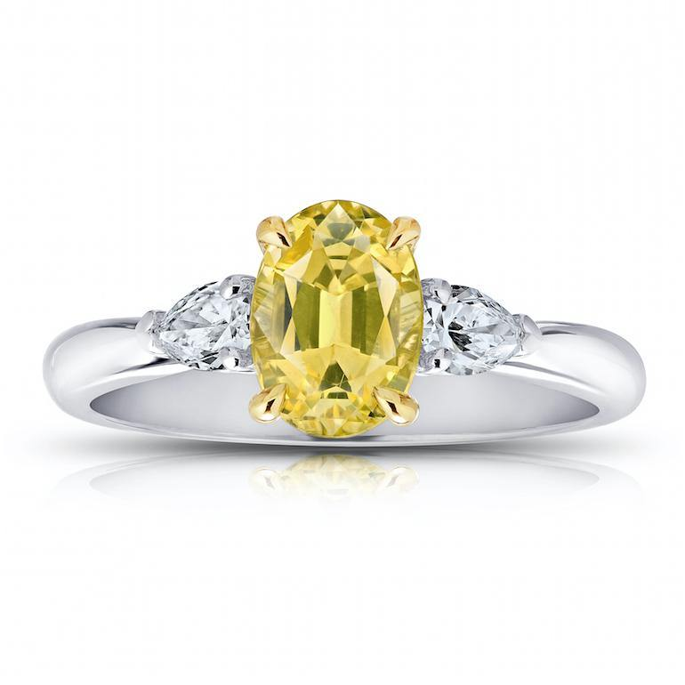 1.66 Carat Oval Yellow Sapphire And Diamond Ring - David Gross Group