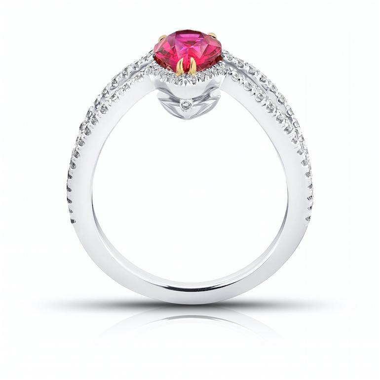 1.42 Carat Pear Shape Ruby and Diamond Platinum Ring - David Gross Group