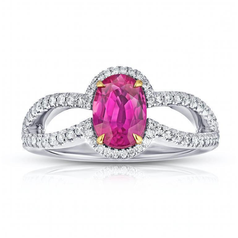 1.54 Carat Oval Ruby and Diamond Platinum Ring - David Gross Group