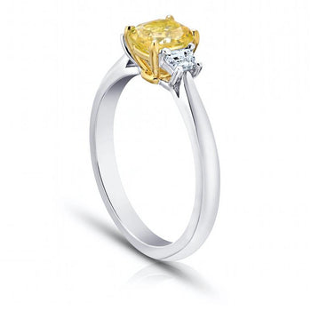 1.11 Carat Cushion Yellow Sapphire and Diamond Ring - David Gross Group
