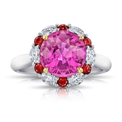 3.21 Carat Oval Pink Sapphire and Diamond Ring
