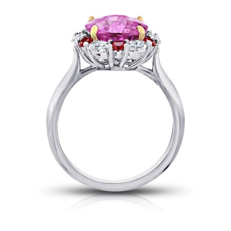 4.04 Carat Round Pink Sapphire Ruby and Diamond Ring - David Gross Group