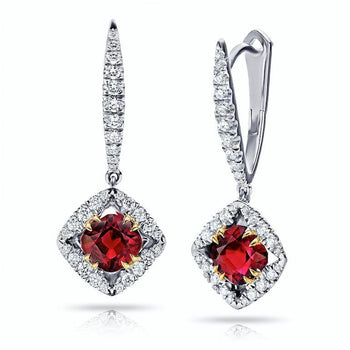 1.17 Carat Cushion Red Ruby And Diamond Earrings - David Gross Group