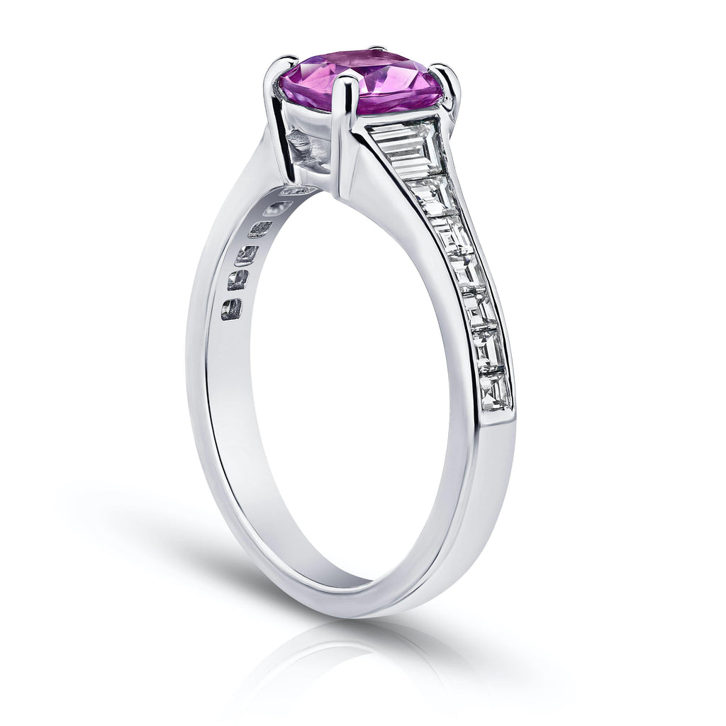 1.38 Carat Pink Cushion Sapphire and Diamond Ring - David Gross Group