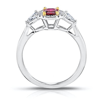 .59 Carat Emerald Cut Red Ruby and Diamond Ring - David Gross Group