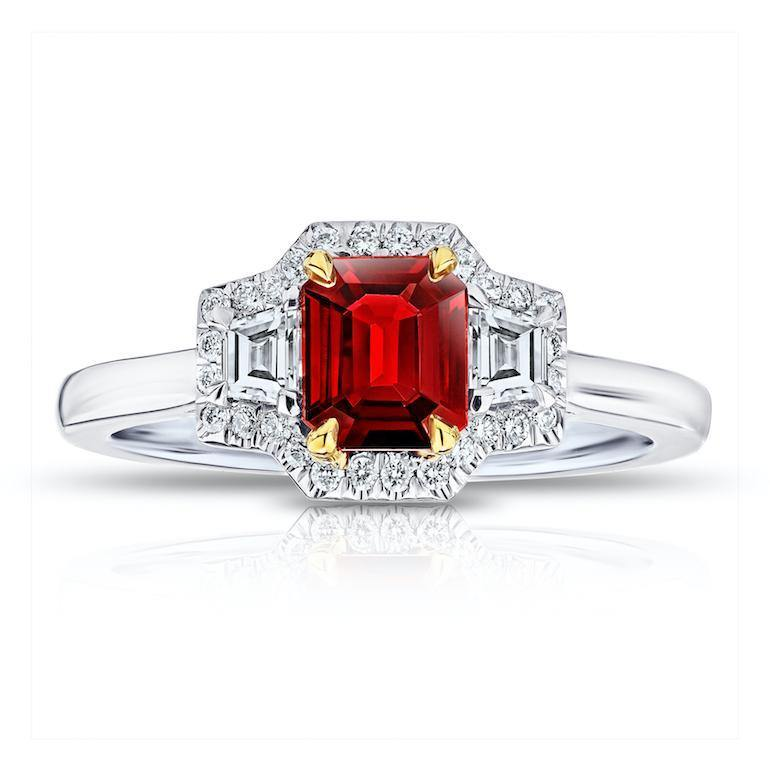 .72 Carat Emerald Cut Red Ruby and Diamond Ring - David Gross Group
