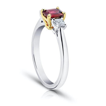 .73 Carat Emerald Cut Red Ruby and Diamond Ring - David Gross Group