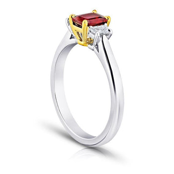 .75 Carat Emerald Cut Red Ruby and Diamond Ring - David Gross Group